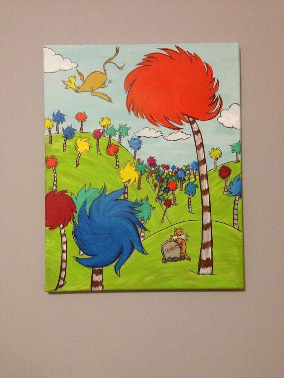 dr seuss lorax tree acrylic painting on etsy. Black Bedroom Furniture Sets. Home Design Ideas