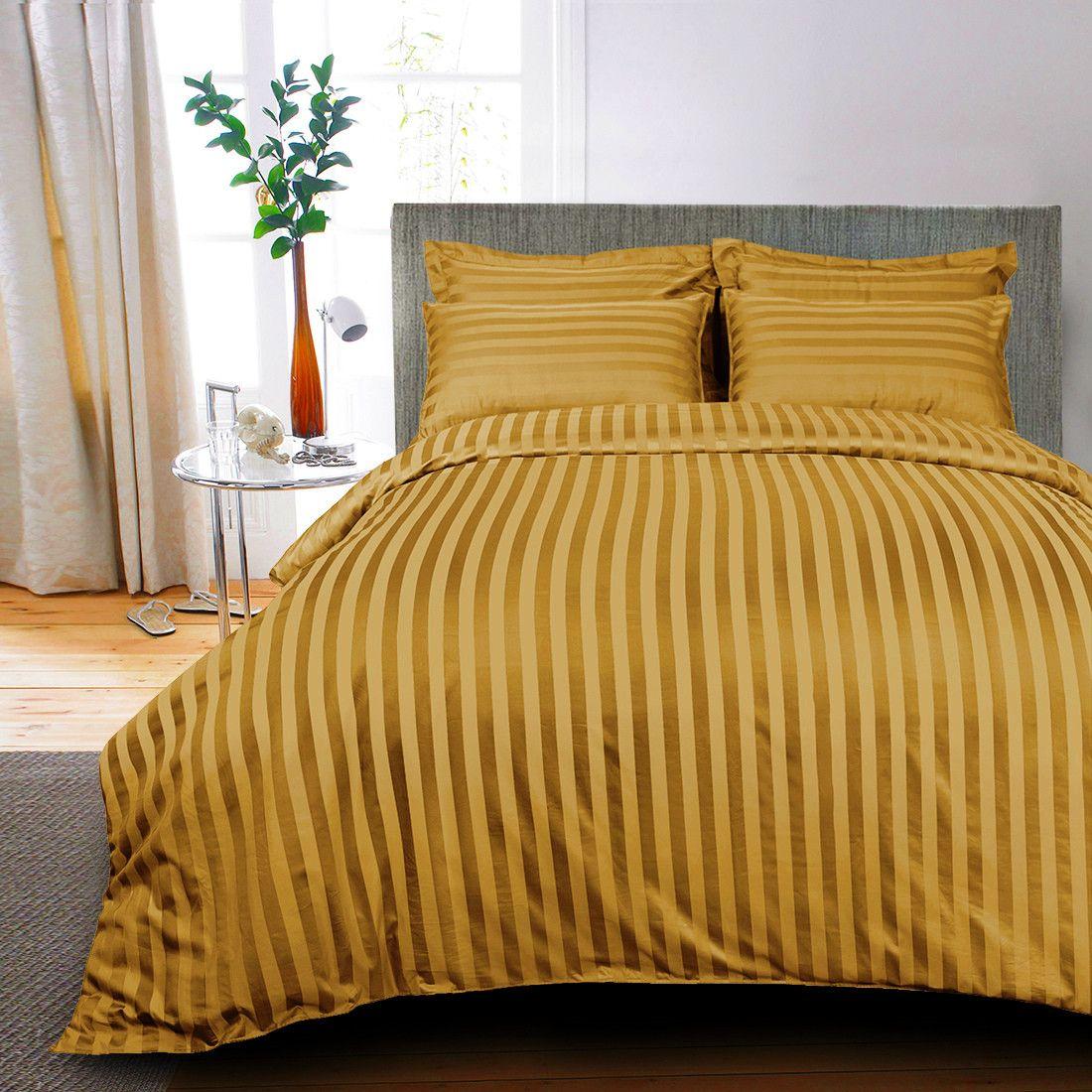 egyptian cotton 400 tc bed sheet striped white - Striped Sheets