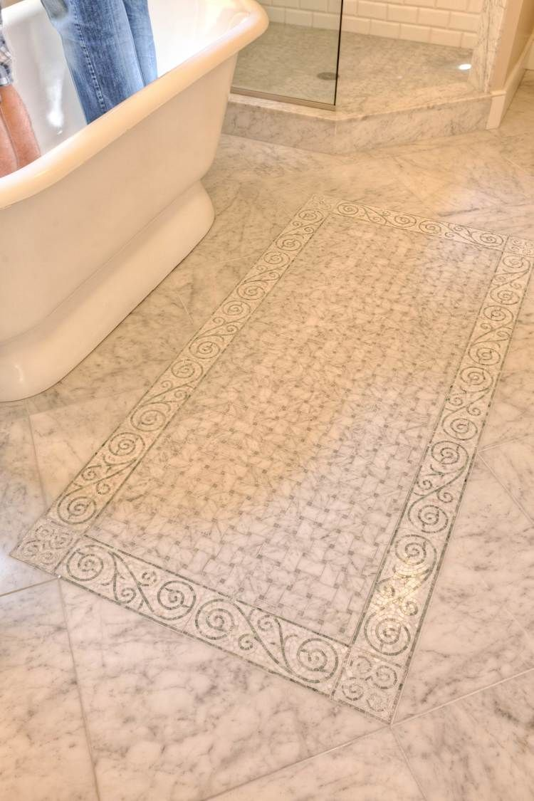 Scroll mosaic border detail bardiglio and carrara marble polished large floor tile scroll mosaic border detail bardiglio and carrara marble polished and honed finishes dailygadgetfo Images
