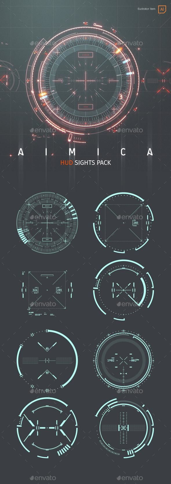 AIMICA: HUD Sights for Futuristic GUI for $15 - Envato