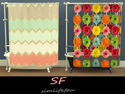 My Sims 4 Blog Shower Curtain Recolors By Mysimlifefou