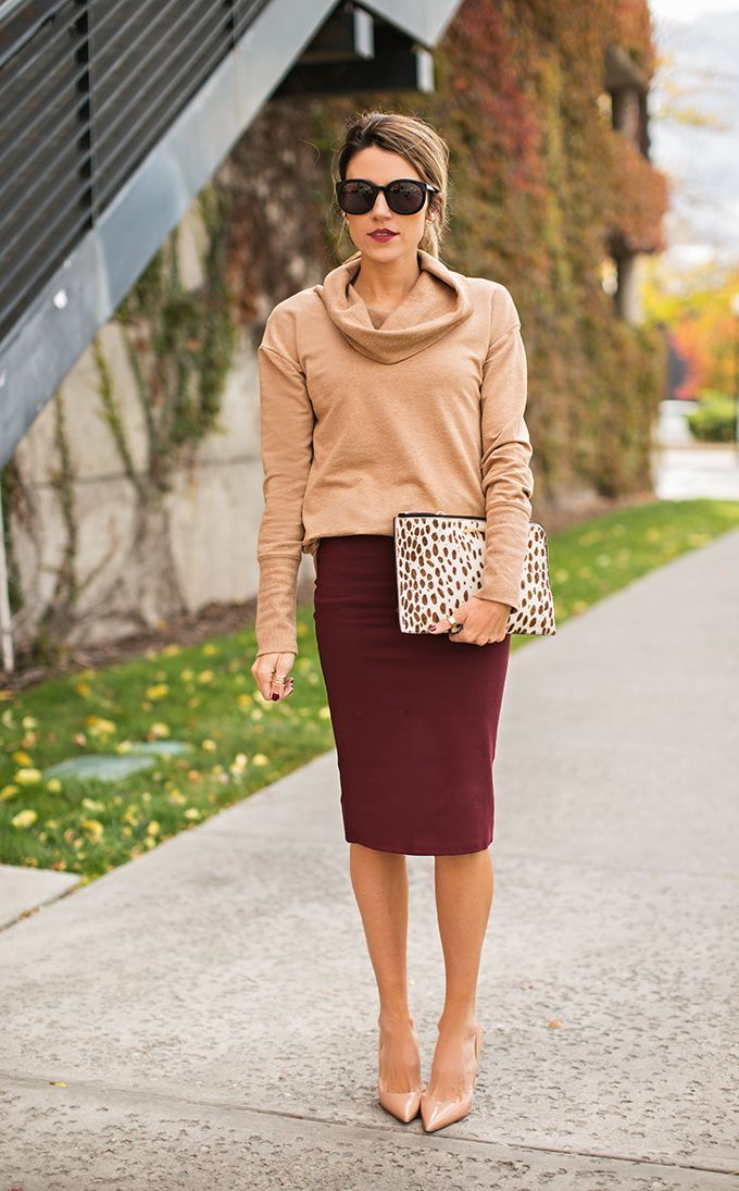 Women's Tan Cowl-neck Sweater, Burgundy Pencil Skirt, Beige ...
