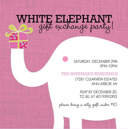 White Elephant Holiday Party Invitation Party Time Pinterest - Party invitation template: white elephant christmas party invitations templates