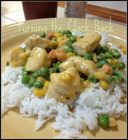 Creamy Cheesy Chicken And Vegetables Over Rice Recipe Recipe Chicken And Rice Dishes Recipes Chicken And Vegetables