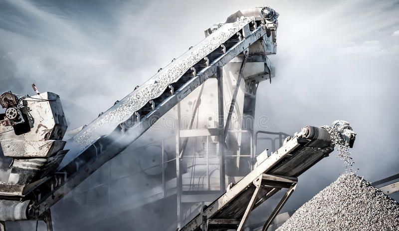 Cement Production Factory On Mining Quarry Conveyor Belt Of