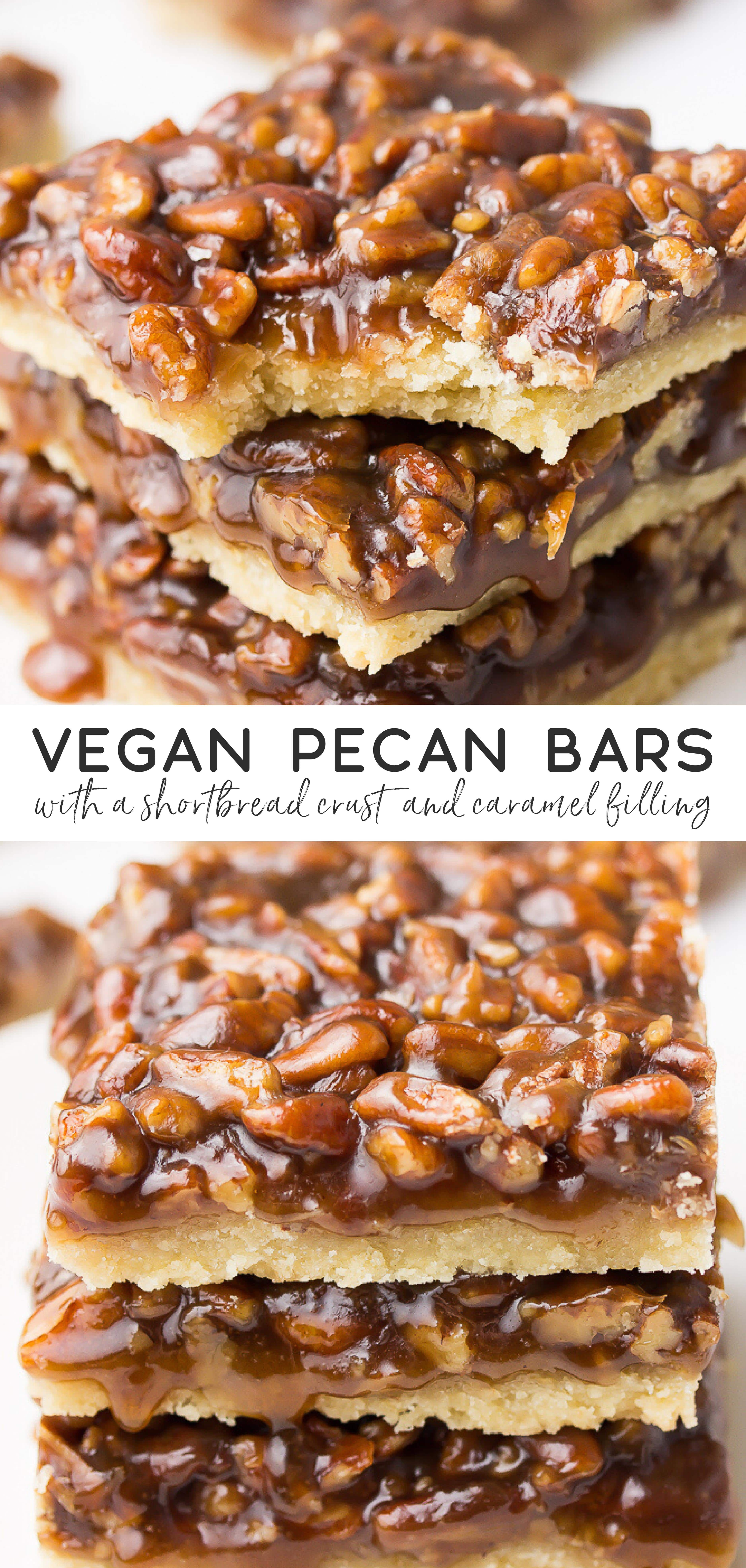 These are the most delicious Vegan Pecan Bars in the world, with a caramel pecan filling and shortbread crust. Better than pecan pie, with no corn syrup! #holidaytreats