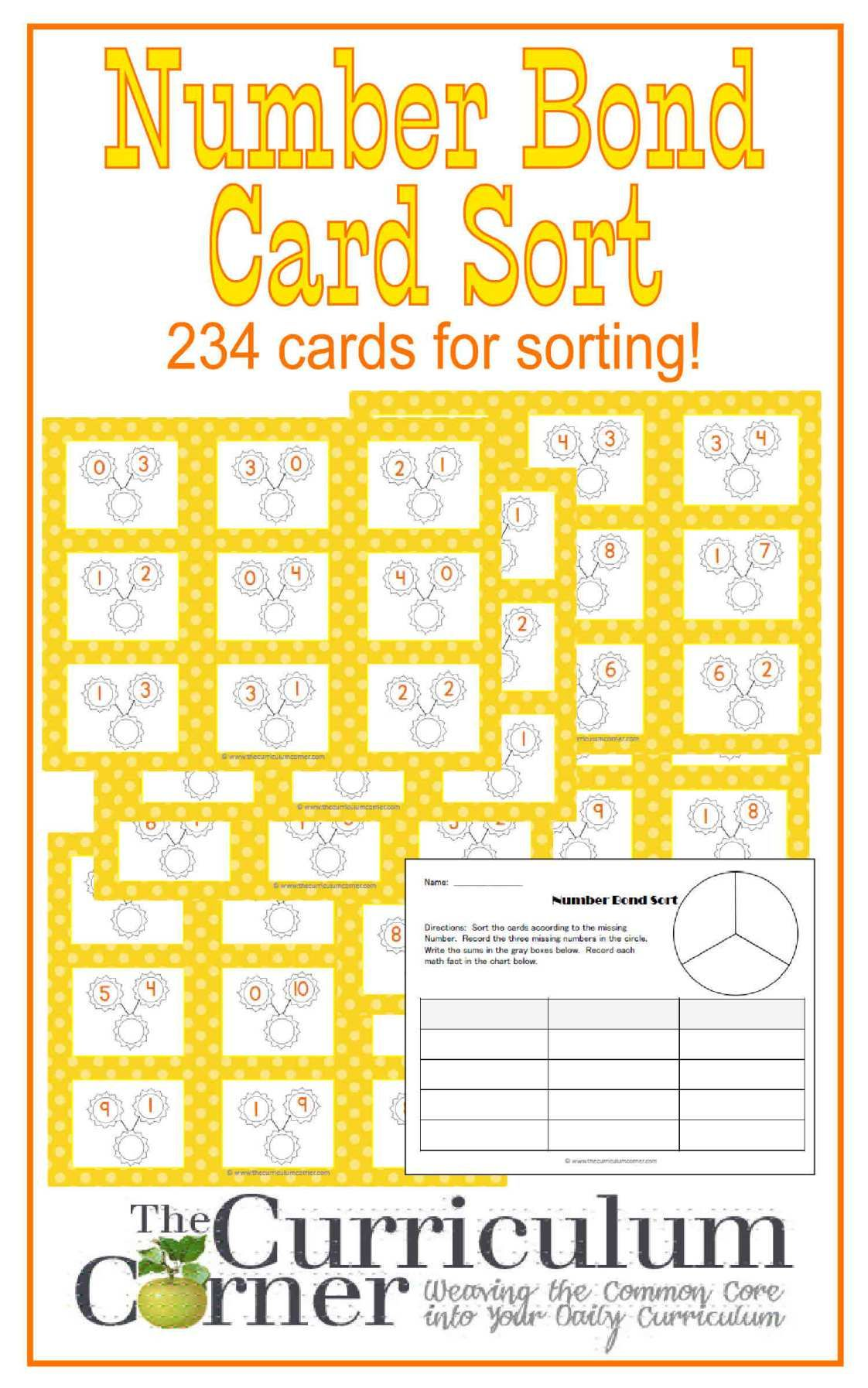 Number Bonds Card Sort Activity