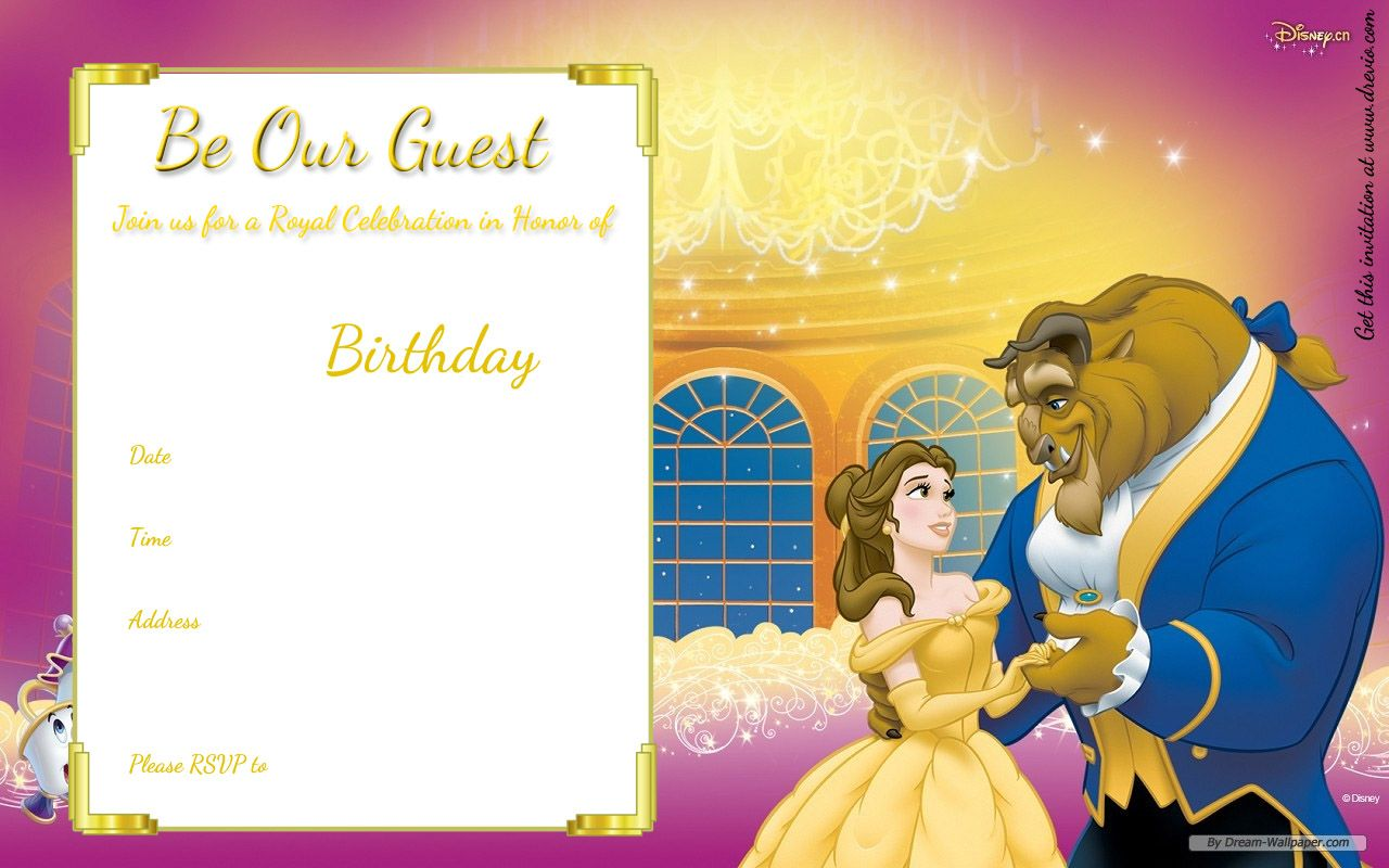 Download Now Free Printable Beauty and the Beast Royal Invitation ...