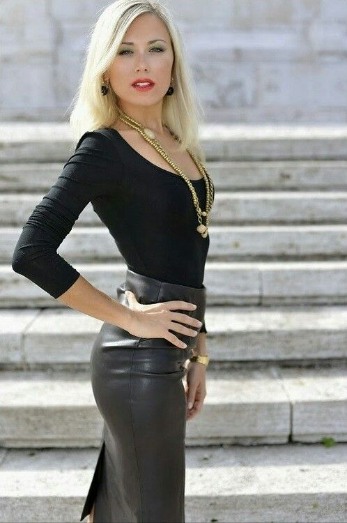 Leather pencil skirt | Sexy Leather | Pinterest