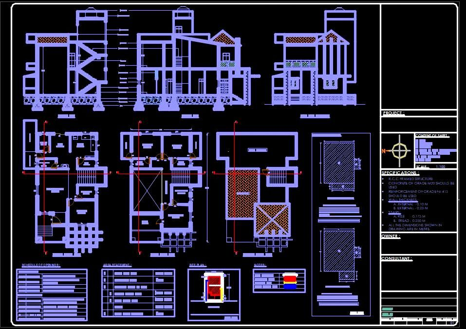 Submission Drawing Of A Bungalow Residential Building 35 X60 Residential Building Residential Building Plan Drawing House Plans