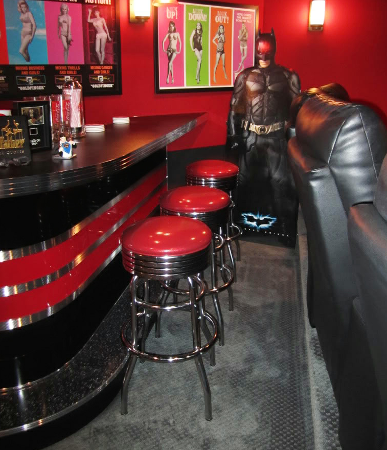 Home Theater Bar Custom Built Rec Room Movie Theme Black And Red Custom Home Bars Bars For Home Home Theater