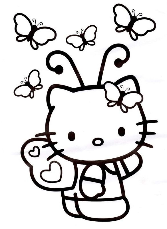 Butterflies Hello Kitty Coloring Hello Kitty Drawing Kitty Coloring