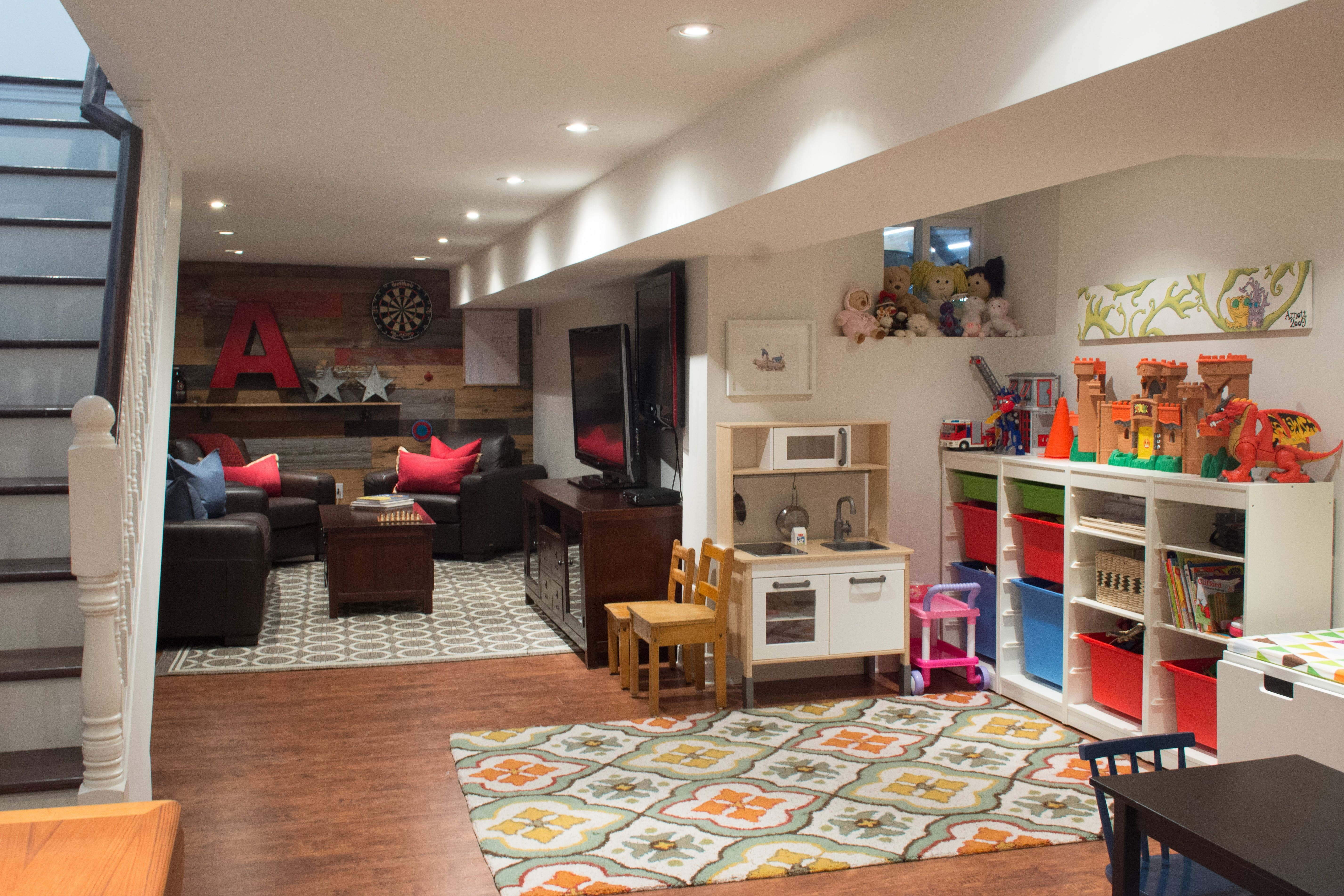 A Young Family Makes Their Mark On A Recently Reno D Toronto Home Basement Living Rooms Home Basement Family Rooms