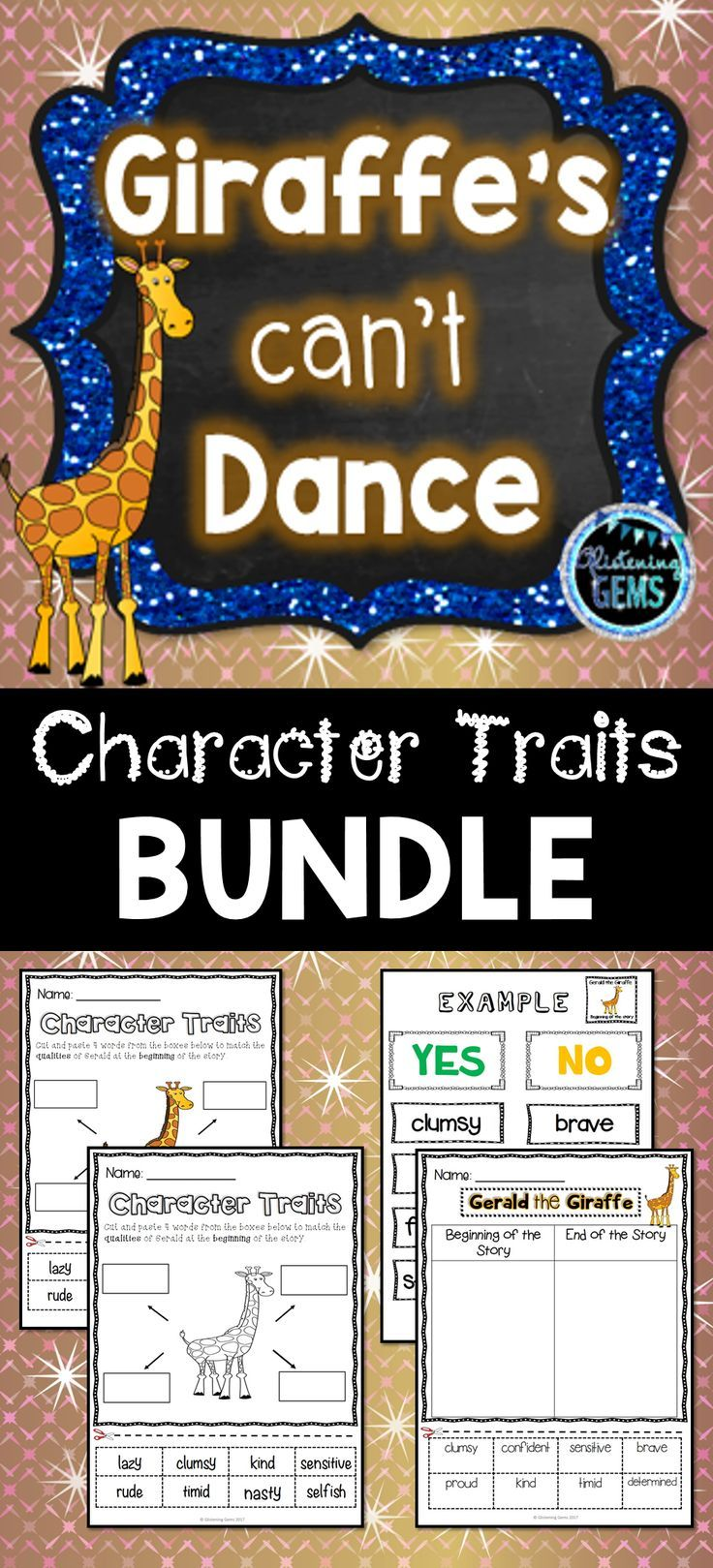 Giraffes Can't Dance Character Traits Bundle | Character trait ...