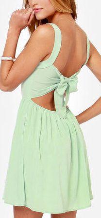 Mint Green Spaghetti Strap Backless Bow Dress