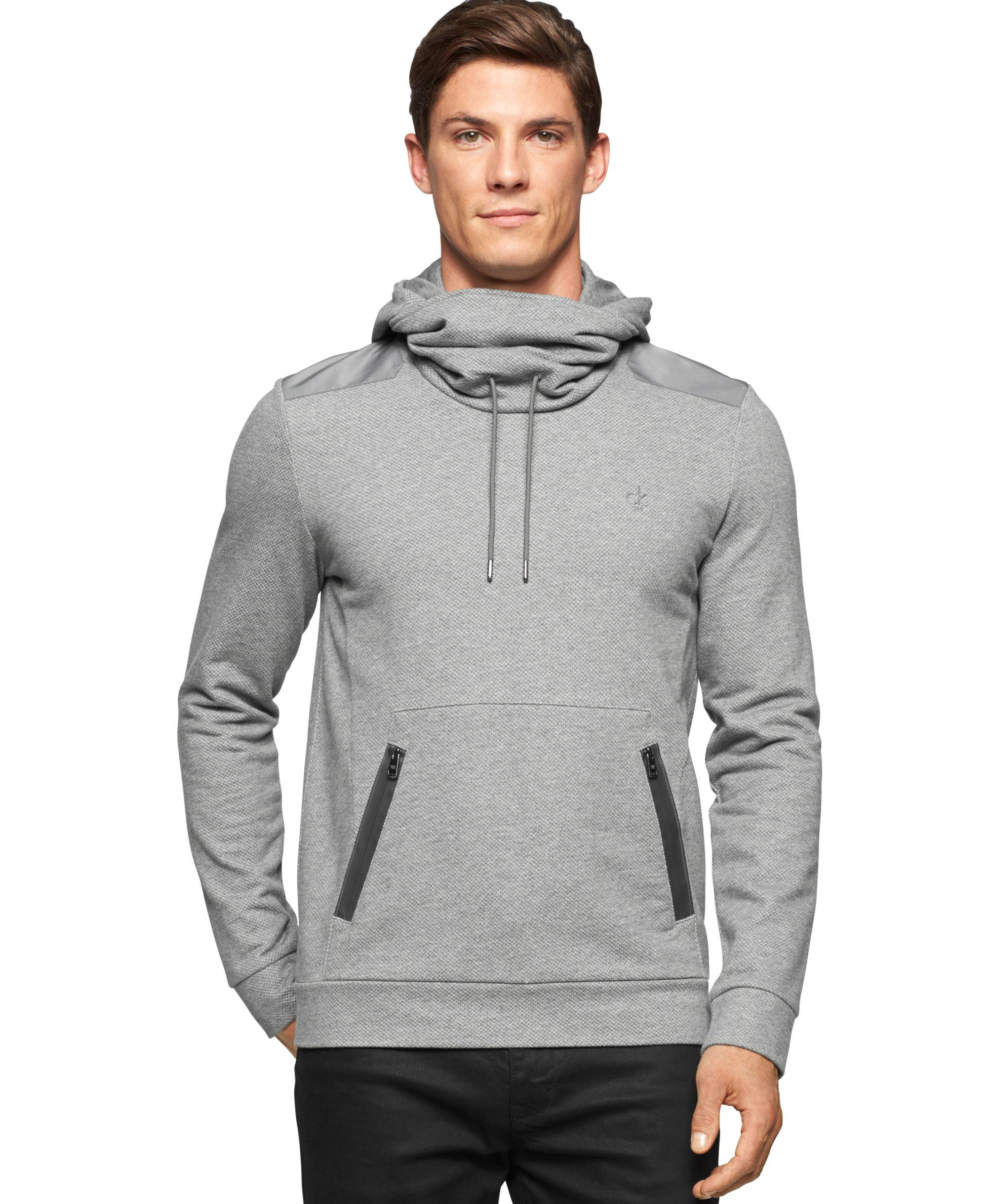 Calvin Klein Funnel Neck Pullover Sweatshirt Hoodie In