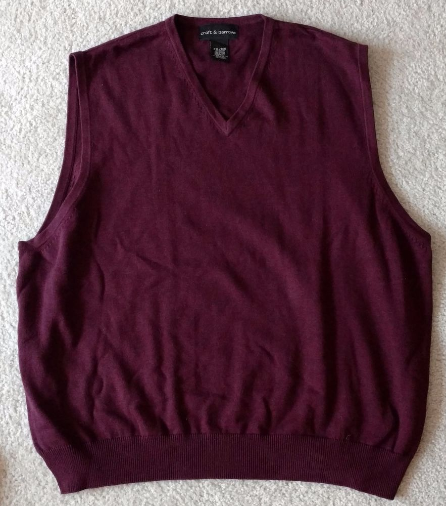 Croft and Barrow Men's Big And Tall Burgundy Knit Sweater Vest ...