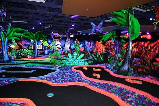 West Edmonton Mall in Canada  Looks like a trippy game of putt putt lol