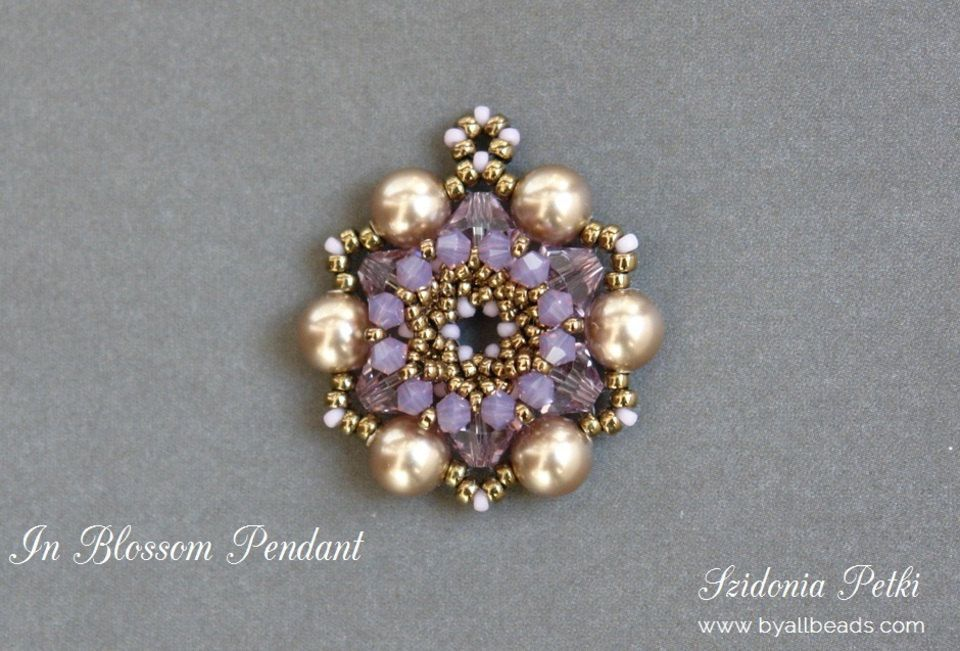 Beaded Pendant Tutorial - Pendant - Digital Download - Beading Pattern - In Blossom Pendant by ByAllBeads on Etsy