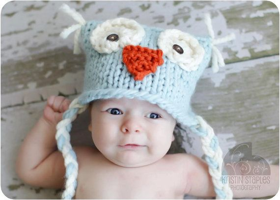 Little Knit Owl Hat For Baby Girl In Bright Pink Ready To Ship