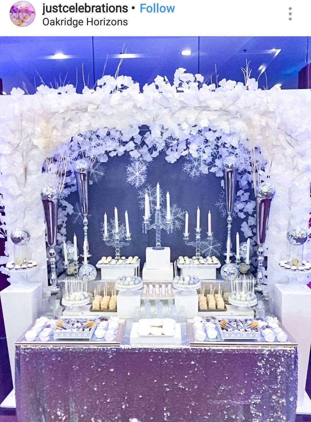 12f505c55d14 Winter Wonderland Dessert table and Decor
