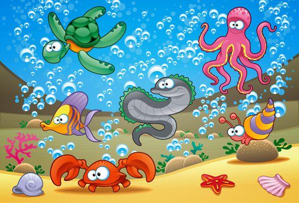 Caricaturas De Animales Acuaticos Es Vectores Peces De Colores Caricaturas De Animales Animales Acuaticos