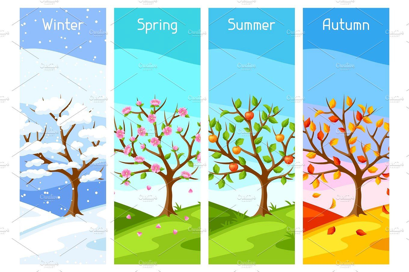 Four Seasons Illustration Of Tree And Landscape In Winter