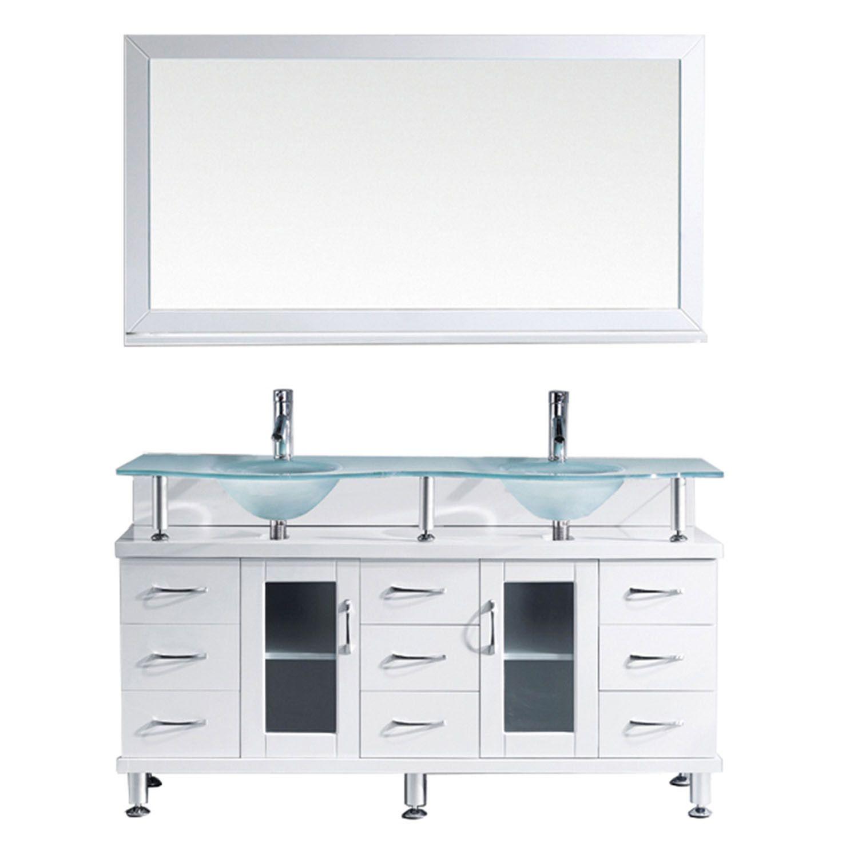Virtu Usa Vincente Rocco 59 Products Glass Vanity Bathroom