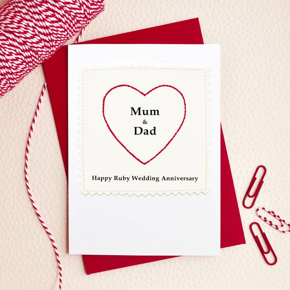 greeting card so sweet heart mum and dad ruby wedding anniversary