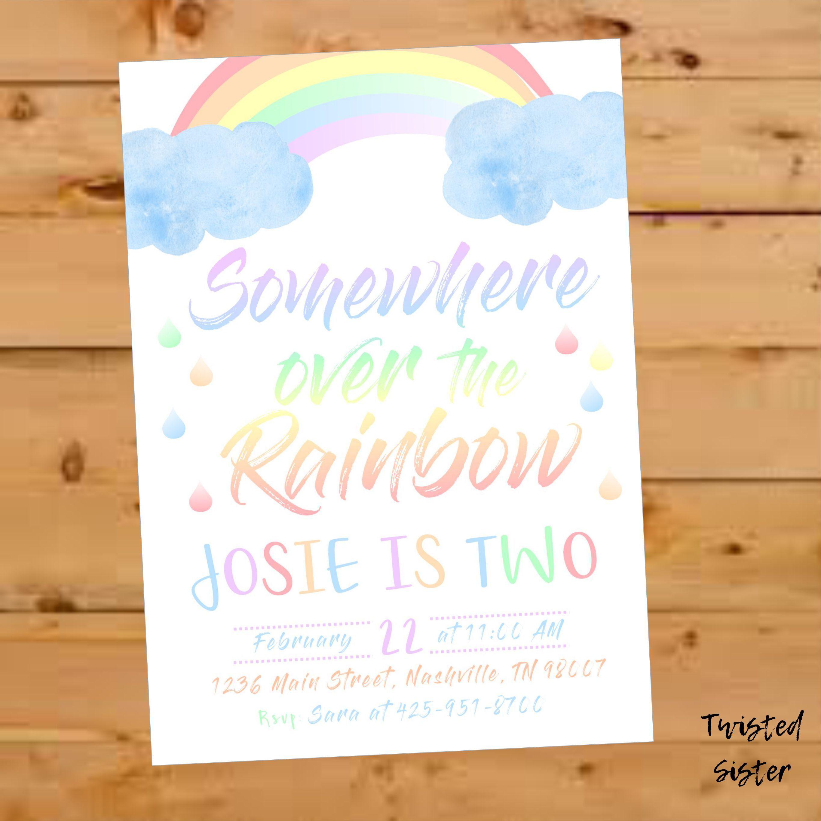 rainbow birthday invitation rainbow invitation rainbow invite