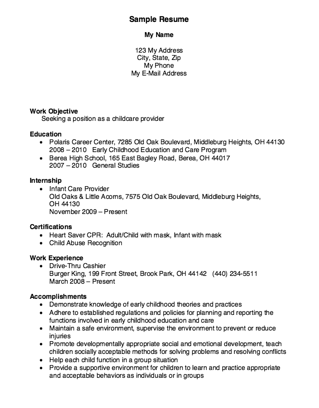 Childcare Provider Resume Example
