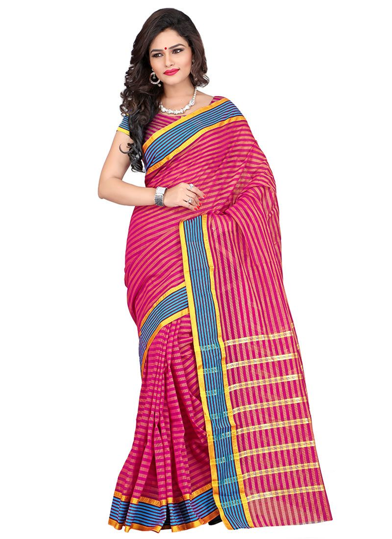 Yellow cotton saree for wedding striped pink cotton saree  indian clothes i like  pinterest