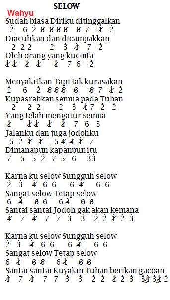 Not Angka Pianika Lagu Selow Wahyu Lagu Lirik Lagu Buku Lagu
