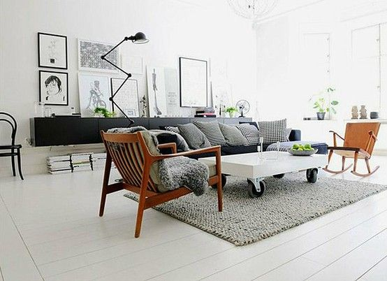Living Room, white, grey, black and saddle. Check out coffee table and hanging wall unit - could do this with Ikea bookcase.