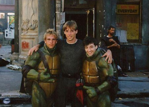 The Four Actors Who Play The Turtles Each Make Cameos Outside Of Their Suits Teenage Mutant Ninja Turtles 1990 Movie Monsters Scenes Behind The Scenes