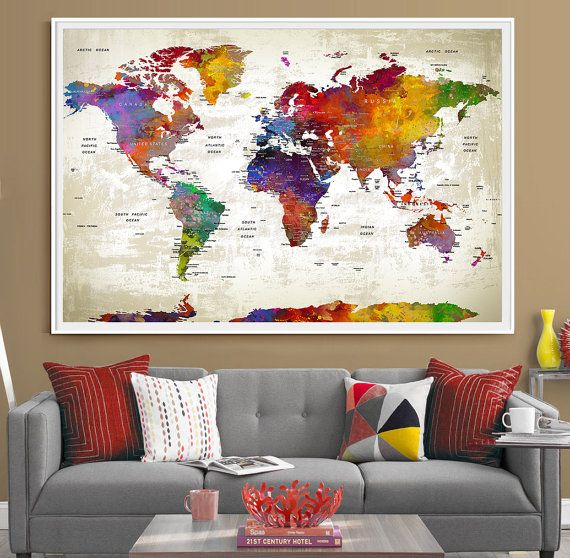 Push pin travel world map extra large wall art   World map push