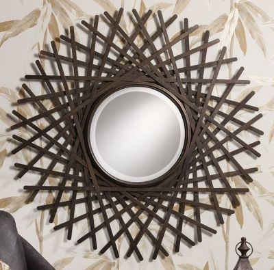Lovely soft colors and details in your interiors  Latest Home     Gallery Direct Zepher Mirror Bold radial design with an elegant iron look  finish Dimensions   W x H Type   Hanging Assembly   Assembled Shape   Round