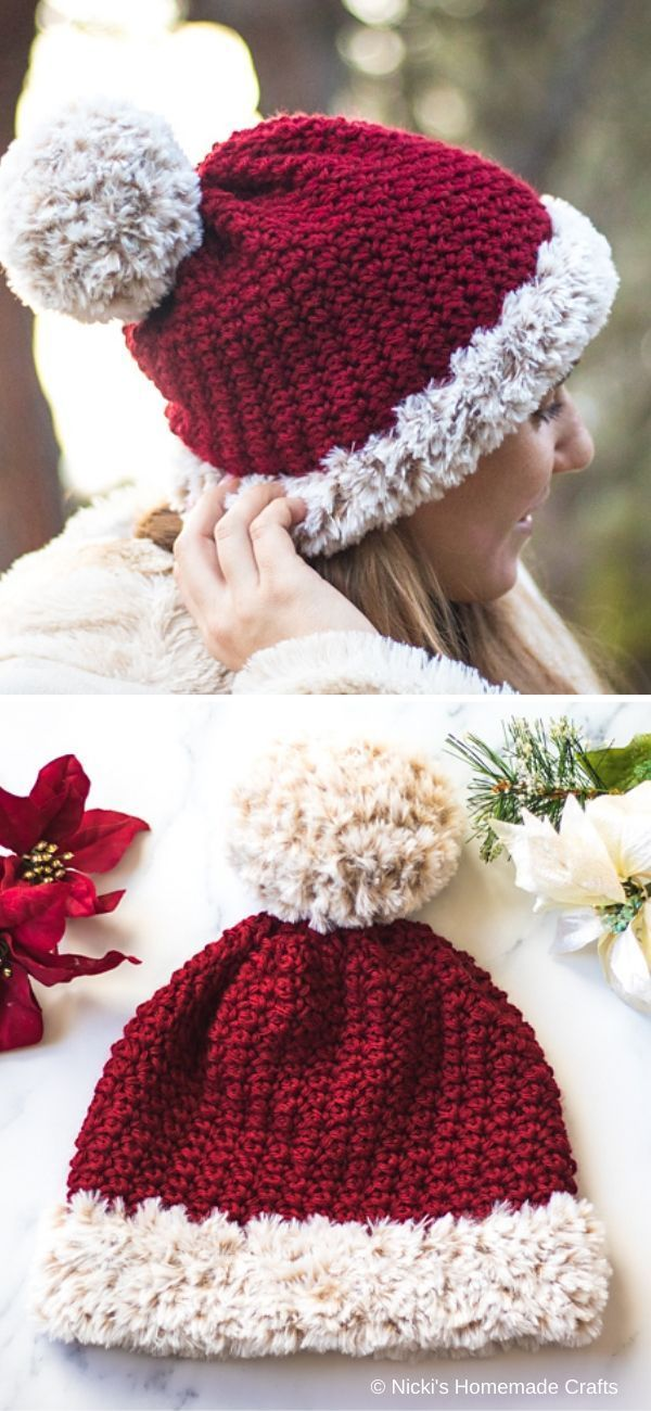 Red Santa Pompom Hat Free Crochet Pattern #crochethatpatterns