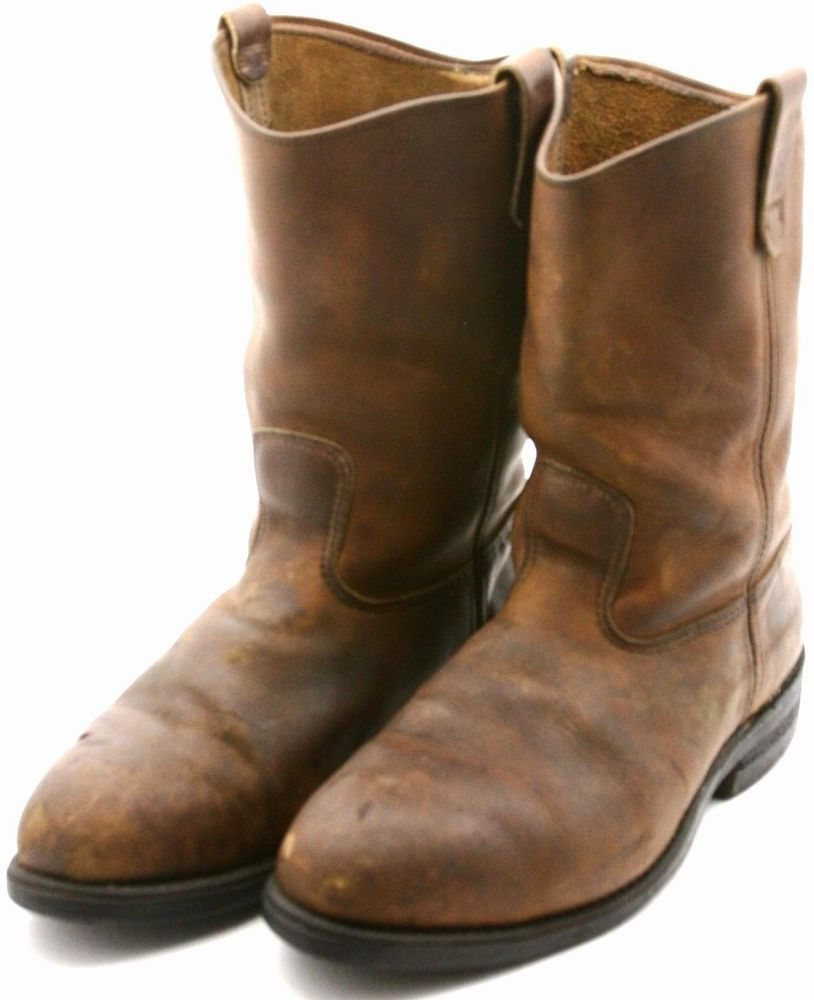 Red Wing Pecos Work Safety Toe Boot Size 11 Ee Brown Leather Western Boot Usa Safety Toe Boots Leather Western Boots Boots