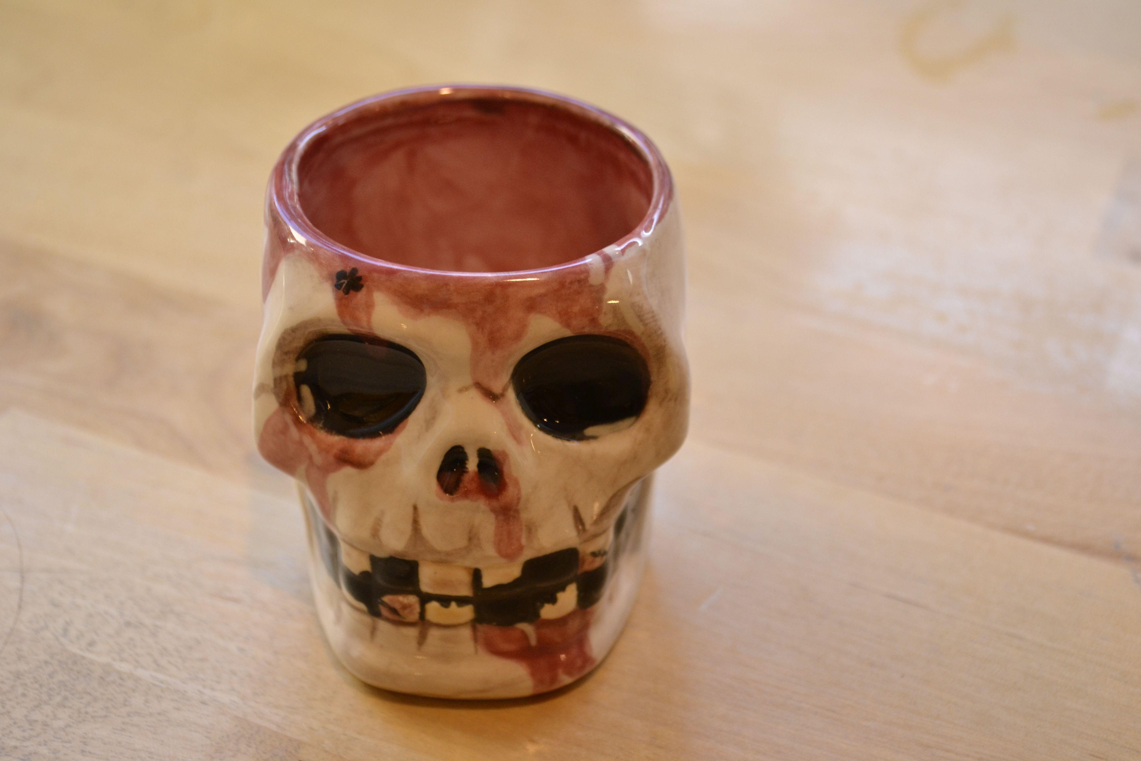 Ceramic Painting Skull Shot Glass Gore Halloween Diy Art Craft Paint The Town Seattle Skull Shot Glass Shot Glasses Diy Ceramic Painting