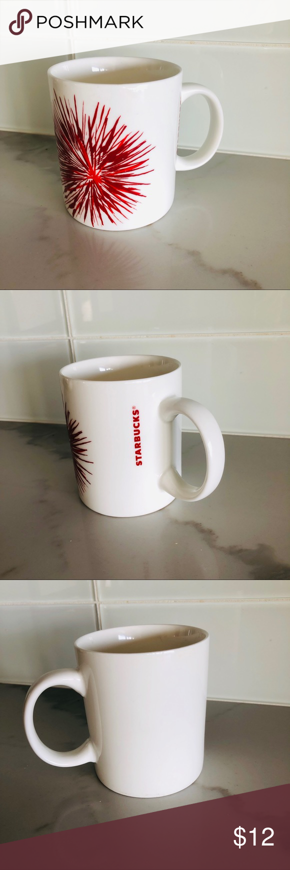 STARBUCKS • 2014 red firework coffee cup 12oz White