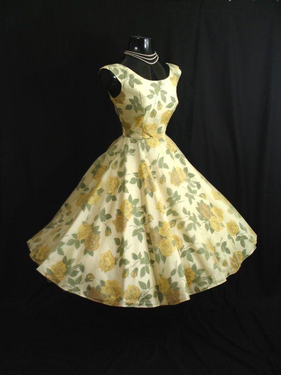 f205ab7c0199 Vintage 1950 s 50s Lemon Yellow Chiffon Organza Floral Roses Party Prom  Wedding Dress