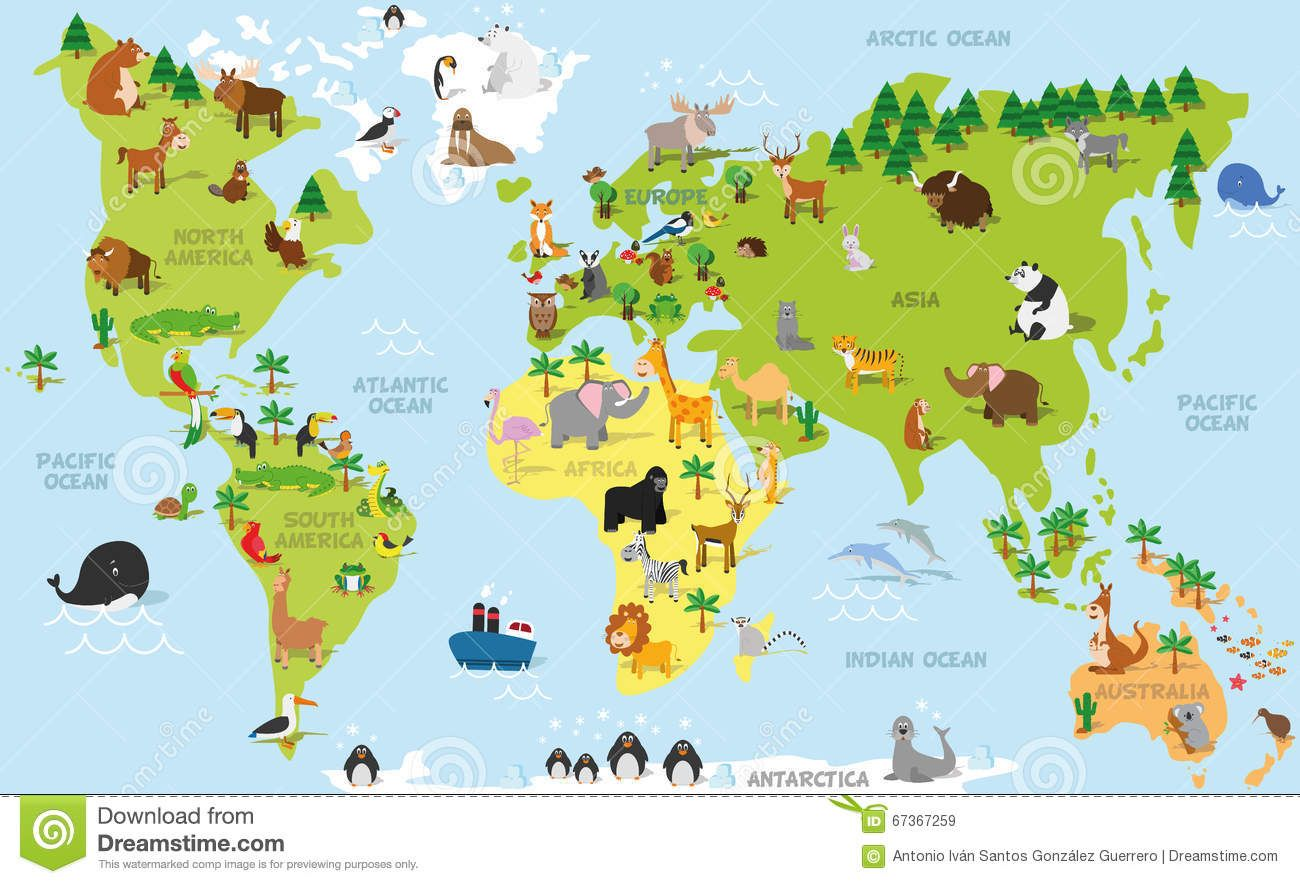 Funny Cartoon World Map With Traditional Animals Of All The Continents And Oceans Vector
