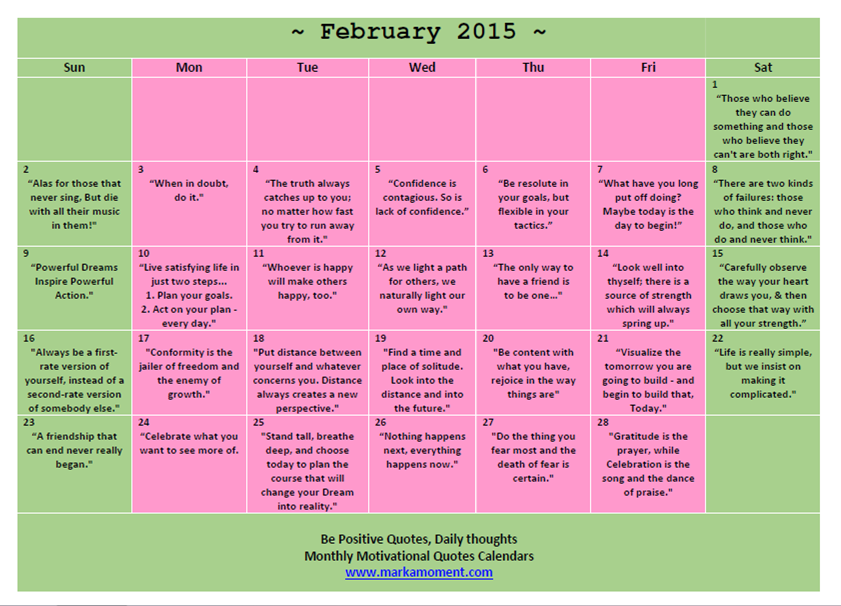 February 2015 Motivational Thoughts Calendar Monthly