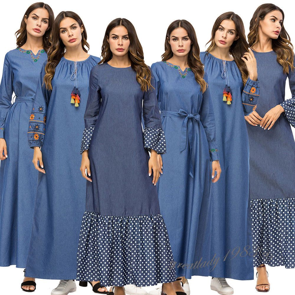 a704318398  DenimDress Women Muslim Long Sleeve Maxi Dress Dubai Kaftan Denim  Embroidery Abaya Islamic - Denim