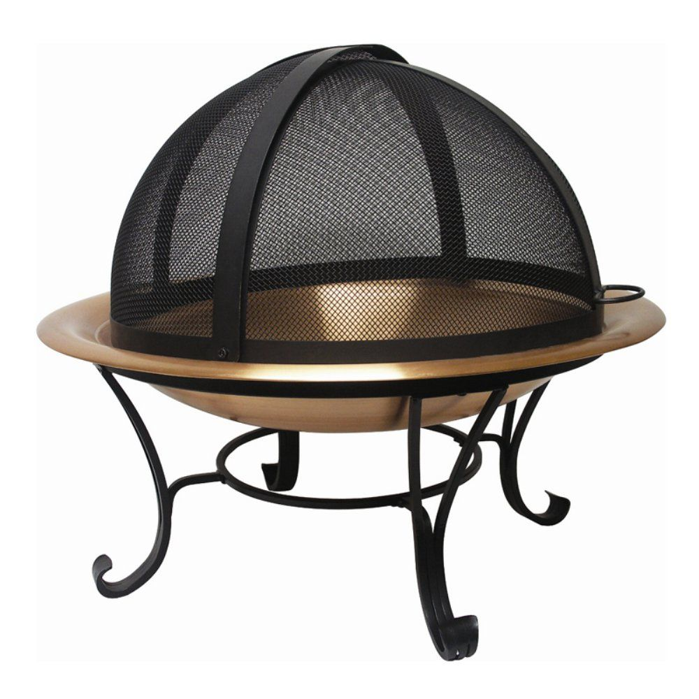 30 In Round Copper Finish Fire Pit With Dome Screen And Free Cover Turn Your Backyard Or Patio Into An Eve Fire Pit Spark Screen Fire Pit Patio Fire Pit Sets