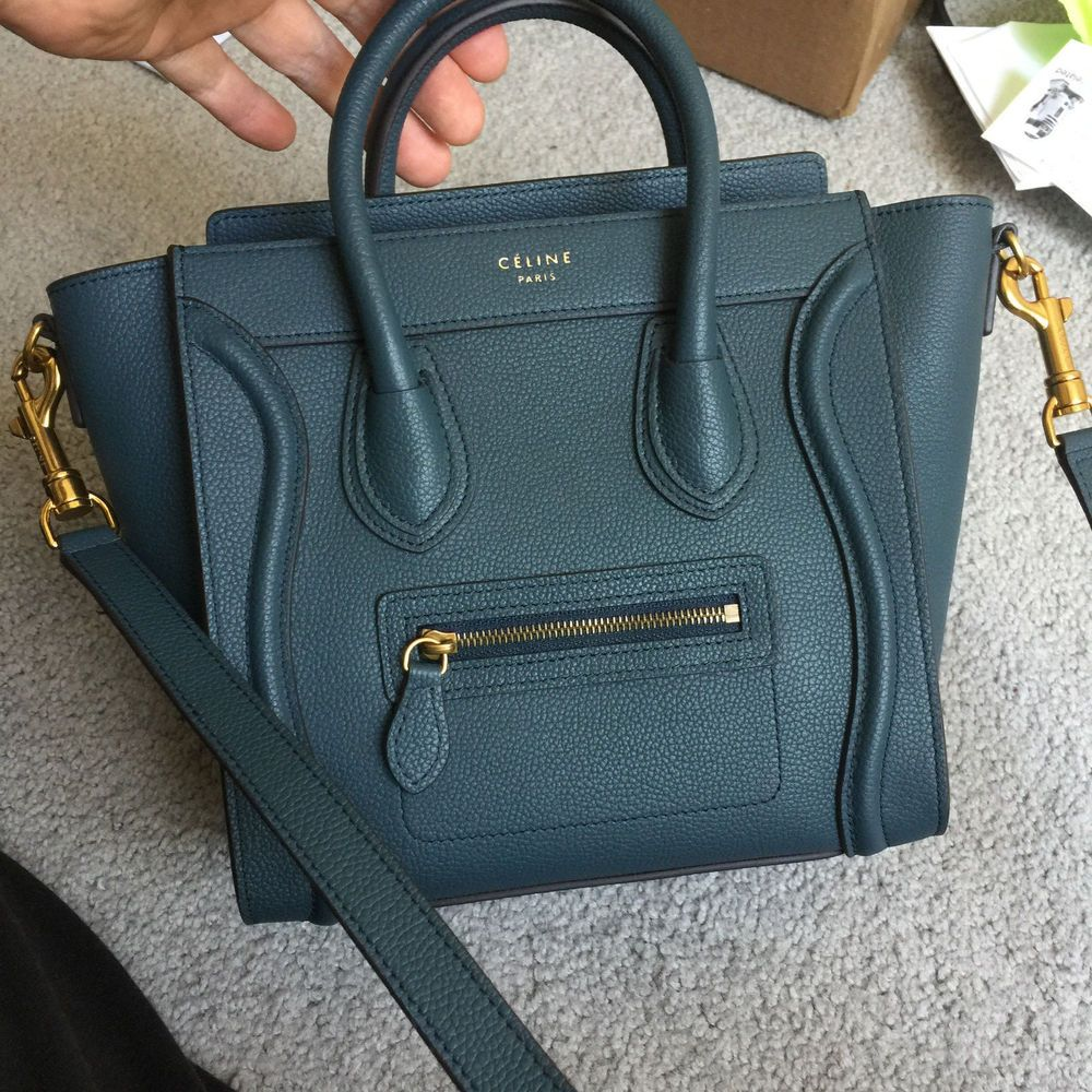 efd461acb1 AUTH CELINE Drummed Calfskin Nano Luggage BLUE mini bag  fashion  clothing   shoes  accessories  womensbagshandbags (ebay link)