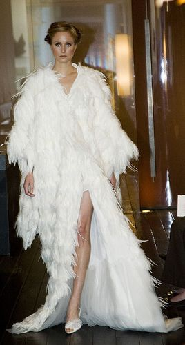 Custom Wedding Dresses White Feather Kimono Created Custom