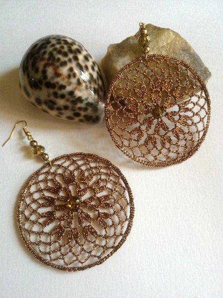 Dangle+Earrings+crochet+hoop+lace+earrings+in+gold+from+AlabasterCreations+by+DaWanda.com