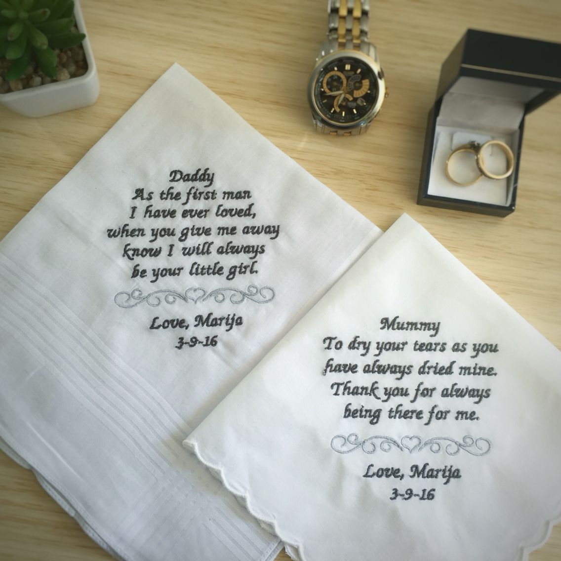 Wedding Gift For Pas Handkerchief Mother Of The Groom Embroidered